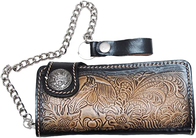 BIKER // TRUCKER CLUTCH WALLET SAFETY CHAIN WITH SNAP CLOSED
