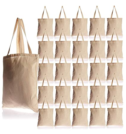 6f959b5fba6 25 Pack Bulk Cotton Canvas Tote Bags Reusable Grocery Shopping Blank Tote  Bags in Bulk Blank Art Craft Supply Book Print Bulk Lot School Church Party  ...