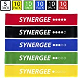 Synergee Mini Band Resistance Band Loop Exercise Bands Set of 5 With Carrying Bag and Exercise Manual