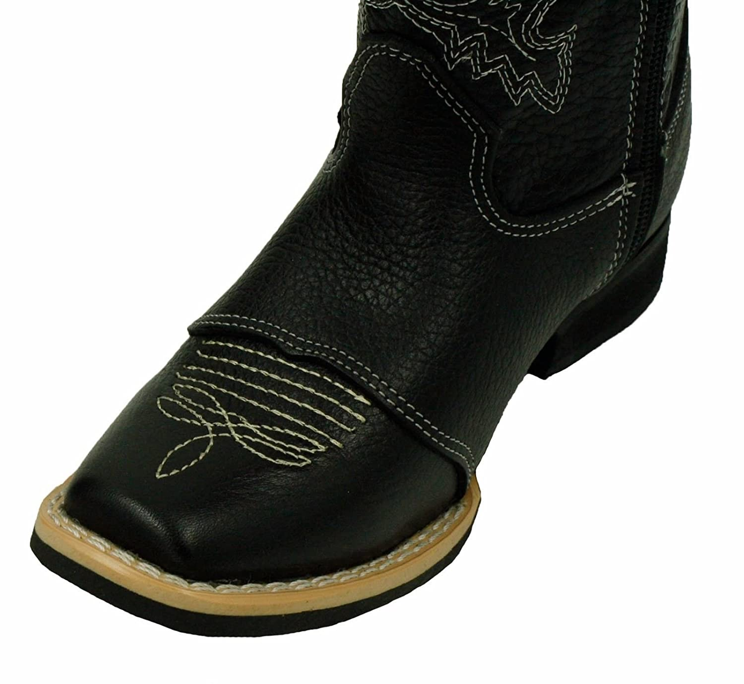 Kids Unisex Genuine Leather Western Rodeo Cowboy Side Zipper Boots Black-10 Toddler Sizes