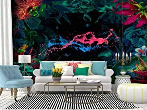 RECETHROWS Wall Mural Night Fairy Garden with Paint Splashes Peel and Stick Wallpaper Self Adhesive Wallpaper Large Wall Sticker Removable Vinyl Film Roll Shelf Paper Home Decor
