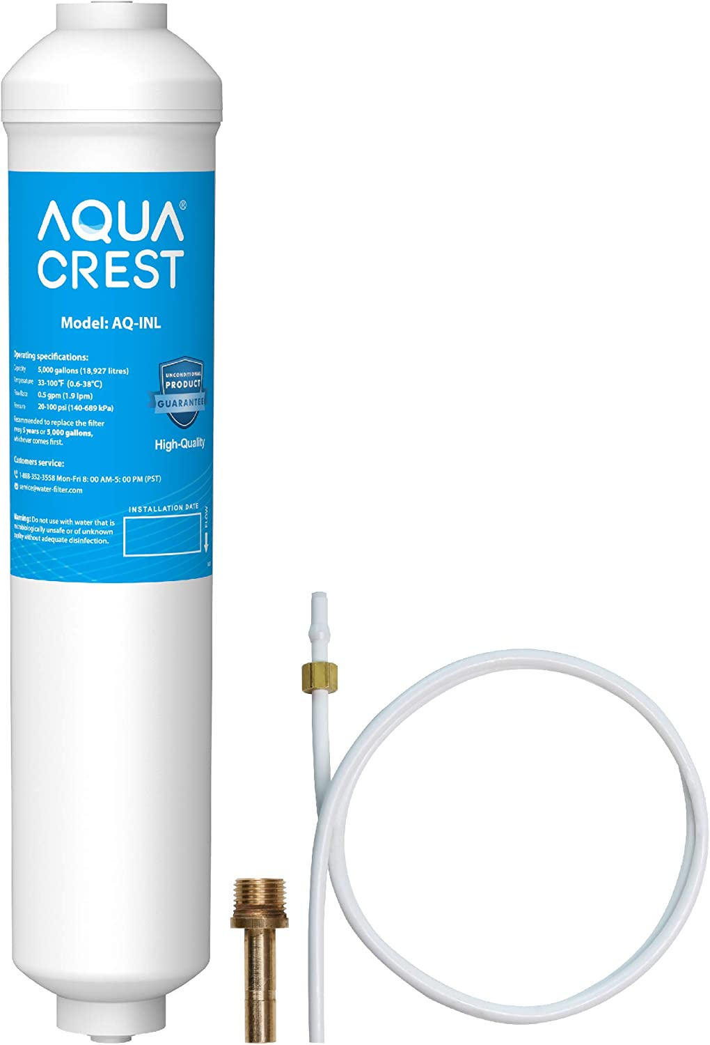 AquaCrest in-Line Refrigerator Filter, 5 Year High Capacity Drinking Water Filtration System with Direct Connect Fittings, Removes Lead, Chlorine, Bad Taste & Odor