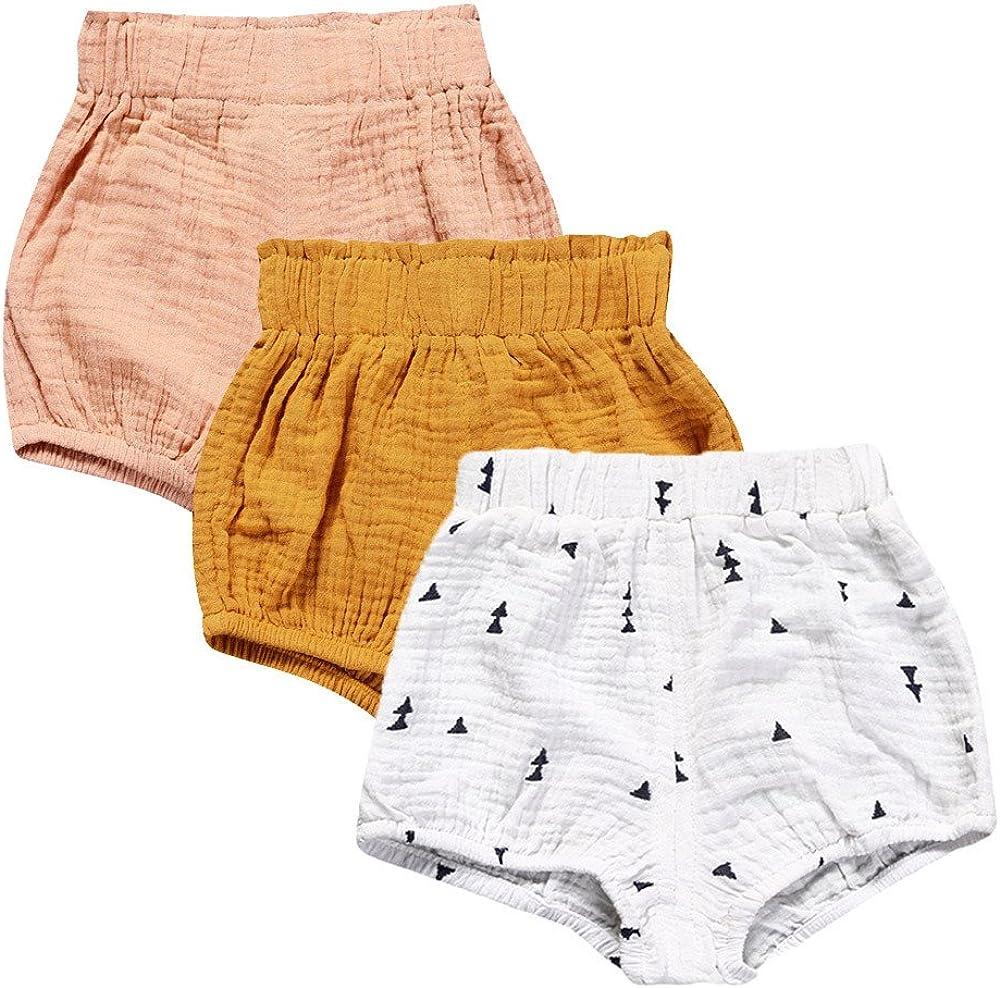 Mary ye Baby Girls Boys 3 Pack Cotton Linen Blend Cute Bloomer Shorts Loose Harem Shorts