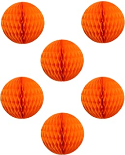"""product image for 12"""" Honeycomb Tissue Paper Ball Decoration (6-Pack, Orange)"""