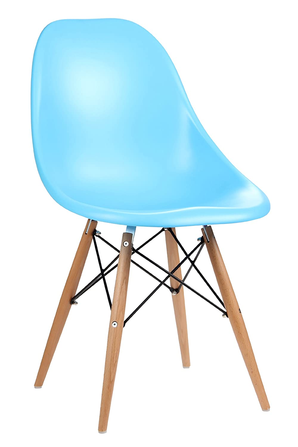 Premier Housewares ABS Chair with Wooden Legs - Blue, Set of 2 8881183