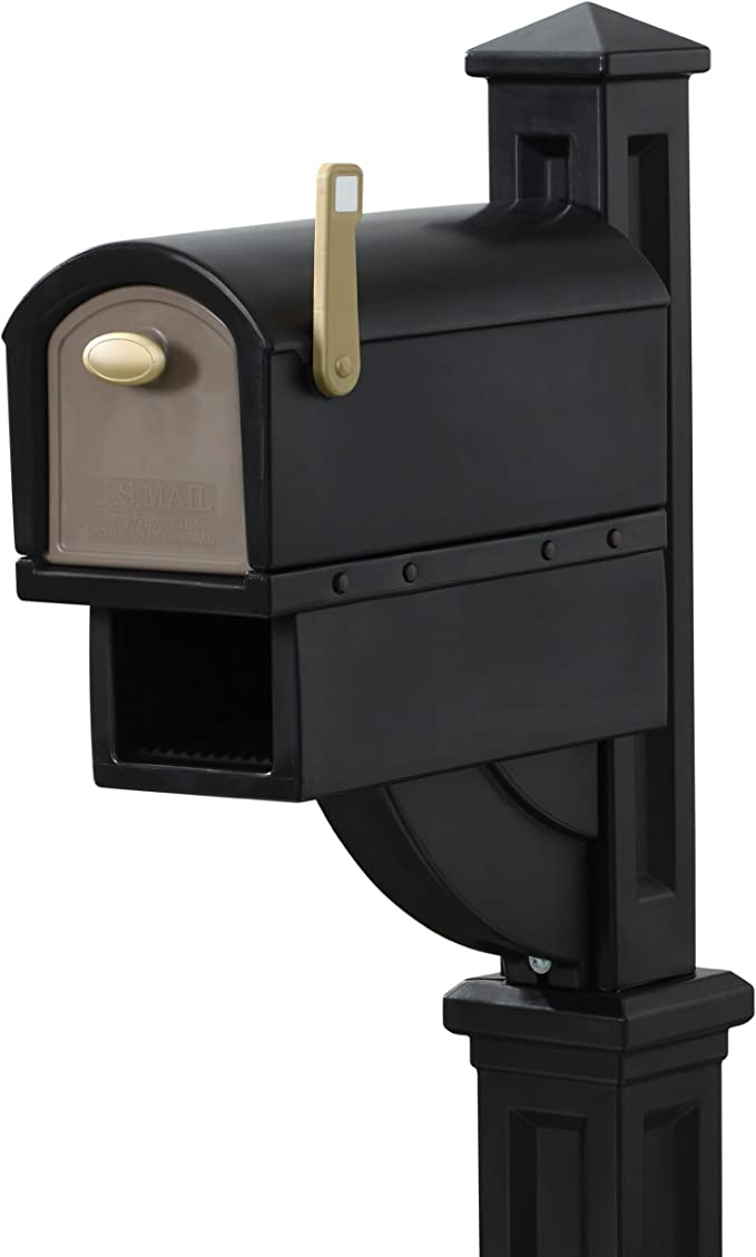 "MailMaster 12.5/""x 51/"" Tan//Gray Post Pole Mount Mailbox Mail Box Newspaper Slot"