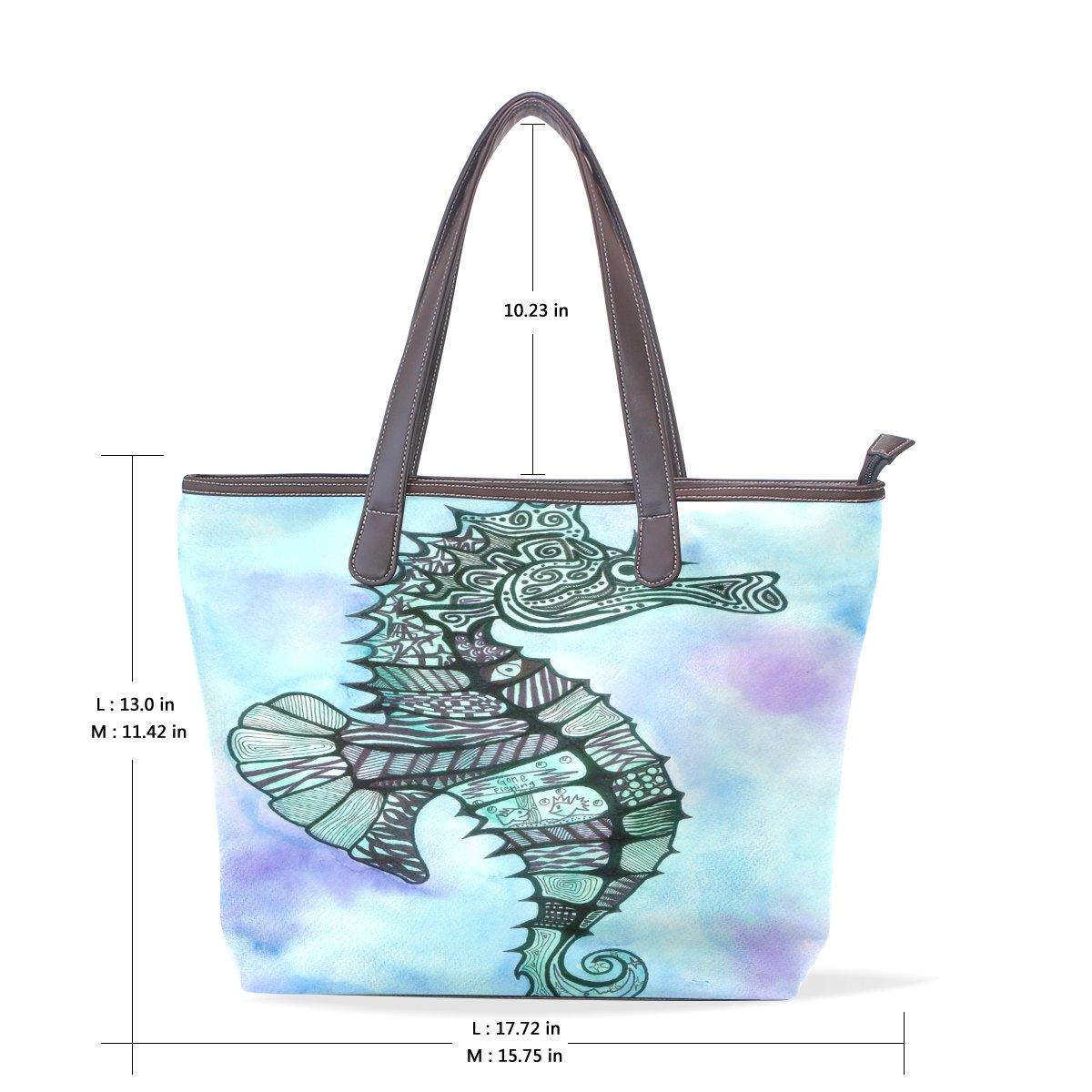 Mr.Weng Household Paint The Hippocampus Lady Handbag Tote Bag Zipper Shoulder Bag