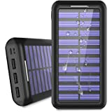 Power Bank 24000mAh Solar Portable Charger, 2 Input & 3 Output USB ALLSOLAR Battery Pack, Solar Battery charger iSmart 2.0 Tech Fast Charging for iPhone,iPad,Samsung Galaxy & More - Black