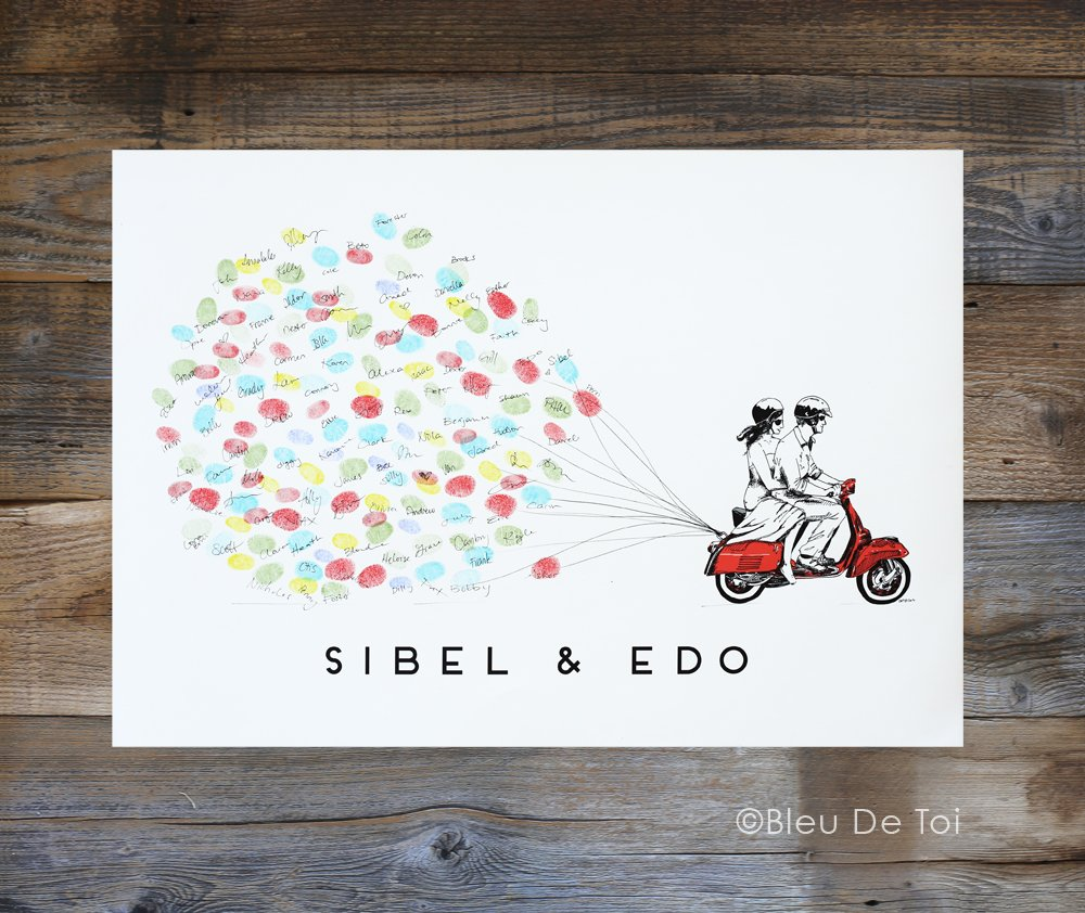 Bride and Groom on Scooter Wedding GuestBook Fingerprint Guestbook Guestbook And Ink Pad Guest Book Alternative
