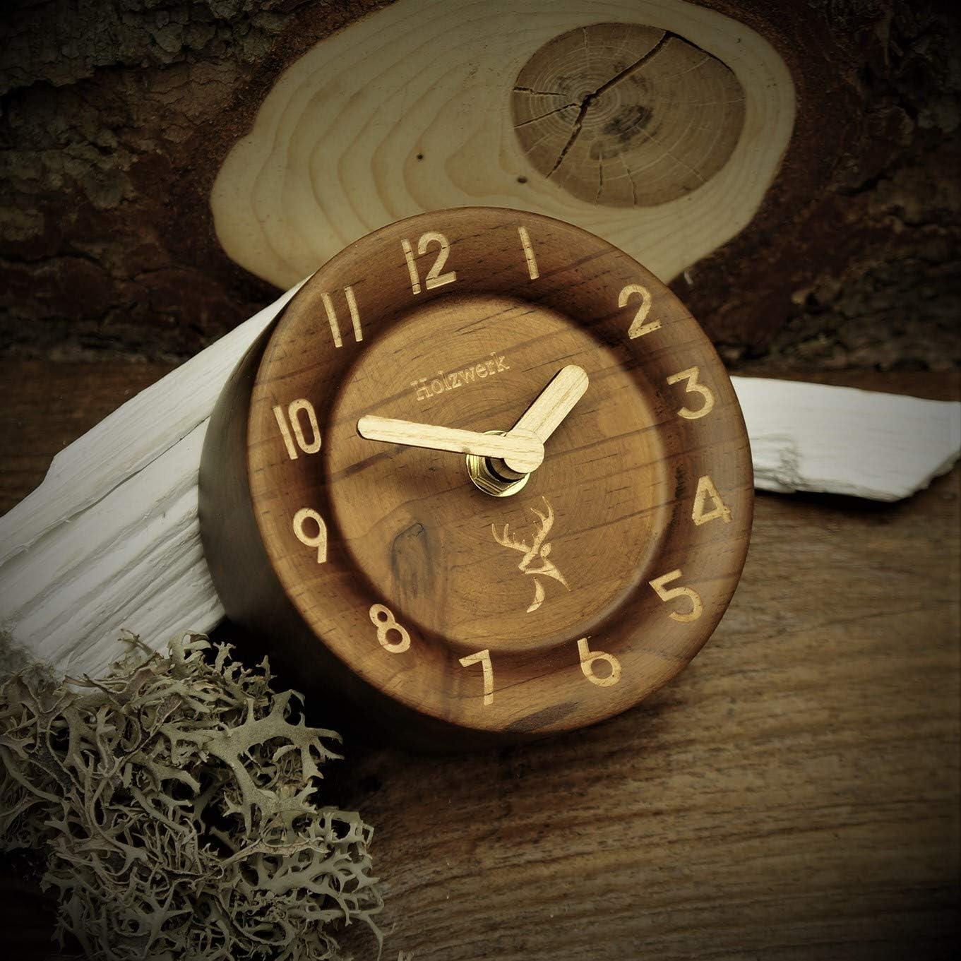 Braun-Eckig Holzwerk Germany /® Analog Retro Tisch-Uhr aus handgefertigtem Natur Holz Ahorn Braun ger/äuscharme Uhr Runde Eckig Holzuhr Stand-Uhr ohne Ticken mit Holzzeiger Handgefertigt