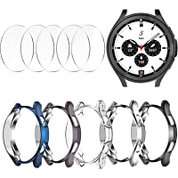[5+5 Pack] Case Compatible for Samsung Galaxy Watch 4 Classic 46mm, Plated TPU Bumper Cover+5 Tempered Glass Screen…