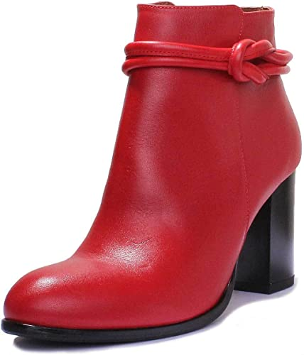 Red Leather Matt High Heel Ankle Boots
