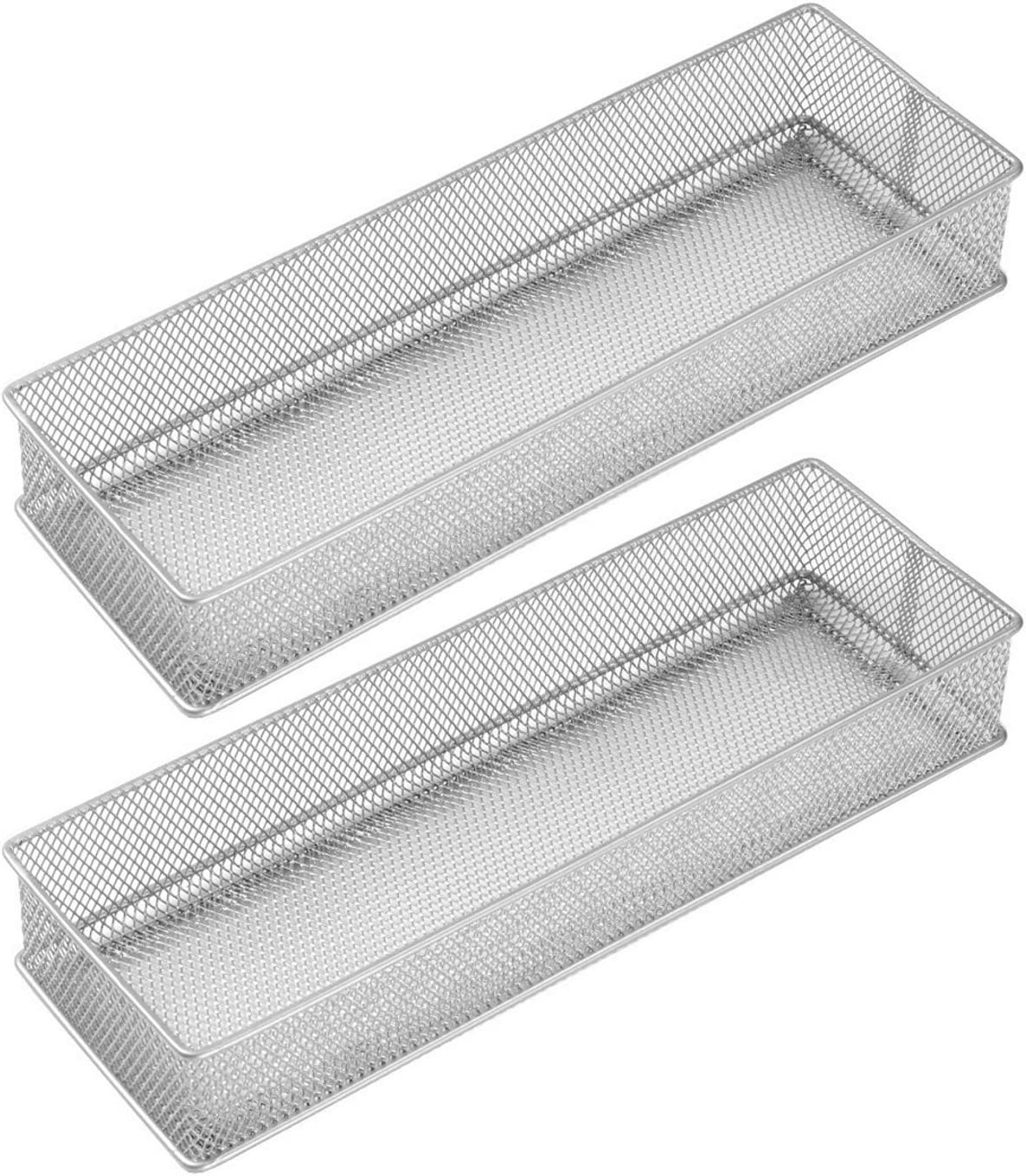 YBM HOME Silver Mesh Drawer Organizer and Storage for Kitchen Drawers, Serves as School Supply Holder, Office Desktop Organizer Basket, and Craft Supplies Organization, (2-Pack, 4x12x2 Inch) 1588