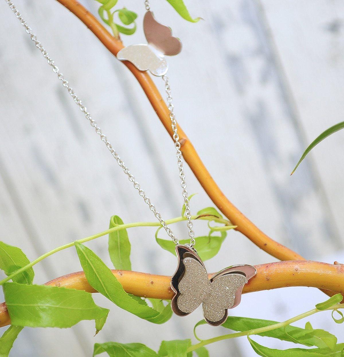 Kim Johanson Damen Schmuckset *Schmetterling* aus Edelstahl in Silber Halskette mit Anh/änger /& Ohrringe inkl Schmuckbeute