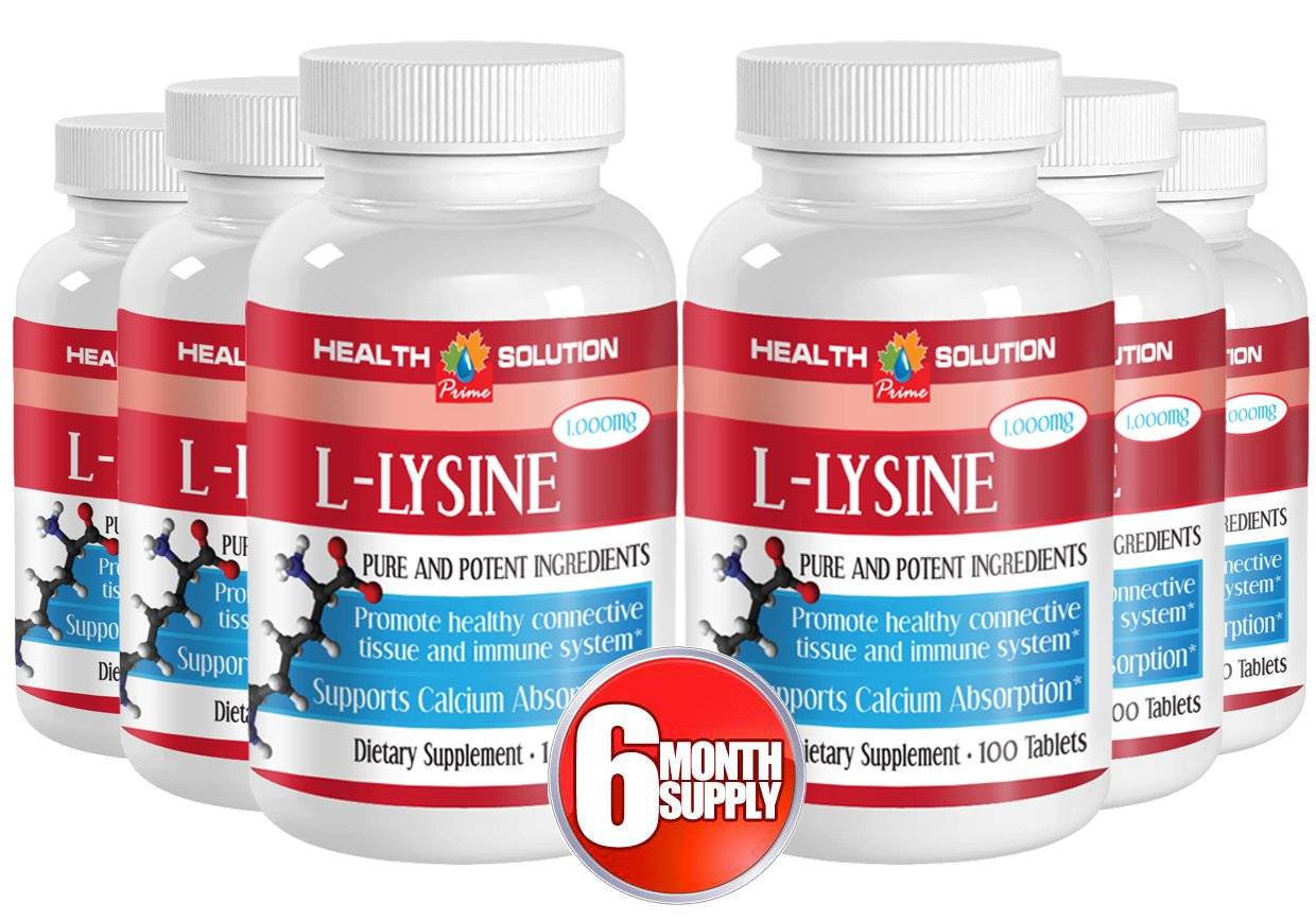 L-lysine - L-LYSINE 1000MG - immune booster (6 Bottles - 600 tablets) by Health Solution Prime