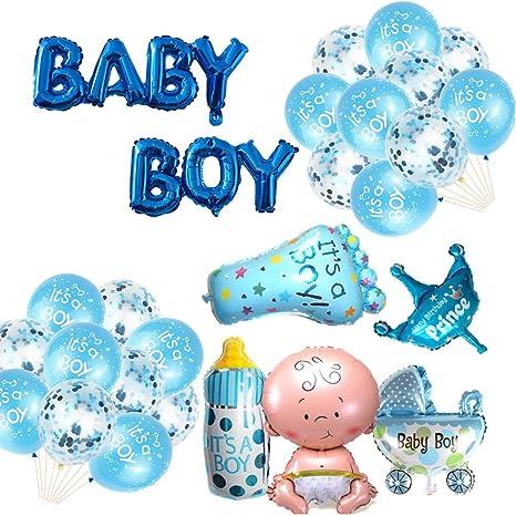 Party Blau It´s a boy Folienballon  Dekoration Baby Shower Kinderwagen