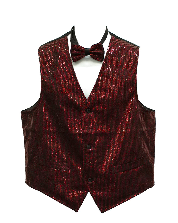 Men's Red Sequin Suit Vest with Bow tie Set