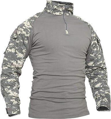 SWISSWELL Camiseta de Manga Larga para Hombre con Bolsillos de Camisa de algodón - Exterior - Militar: Amazon.es: Ropa y accesorios