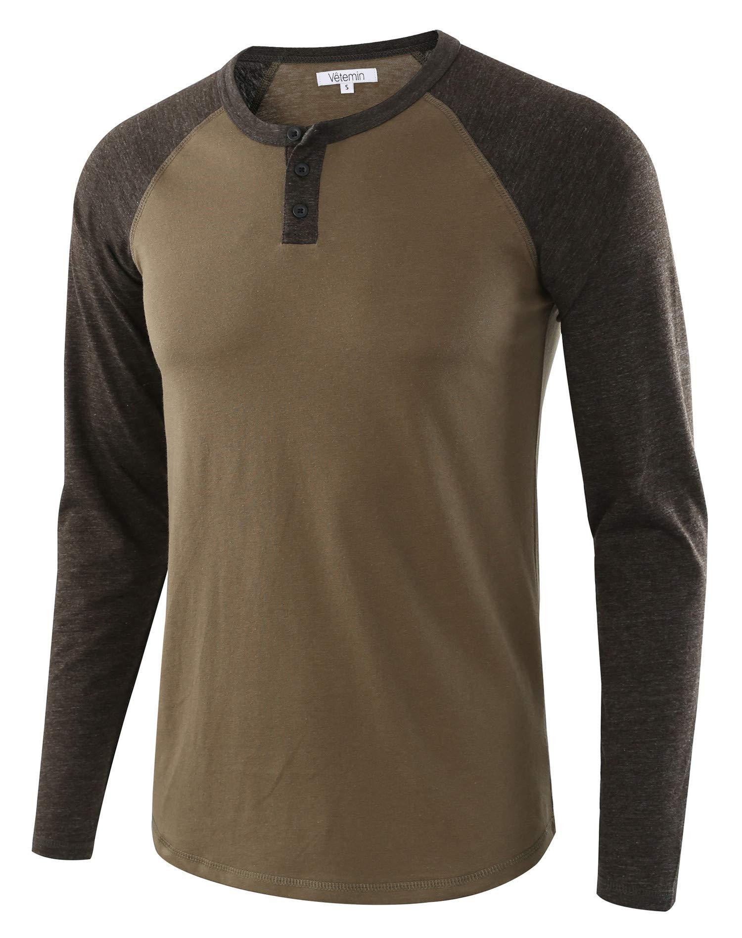 HETHCODE Mens Casual Raglan Fit Soft Baseball 3//4 Sleeve Henley T-Shirts Tee