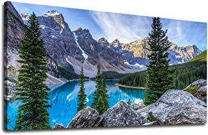 Large Wall Art Bedroom Living Room Decoration Moraine Lake Canvas Art Mountain and Lake Landscape Nature Picture Blue Water Glacially Fed Lake in Banff National Park for Home Wall Decor 24