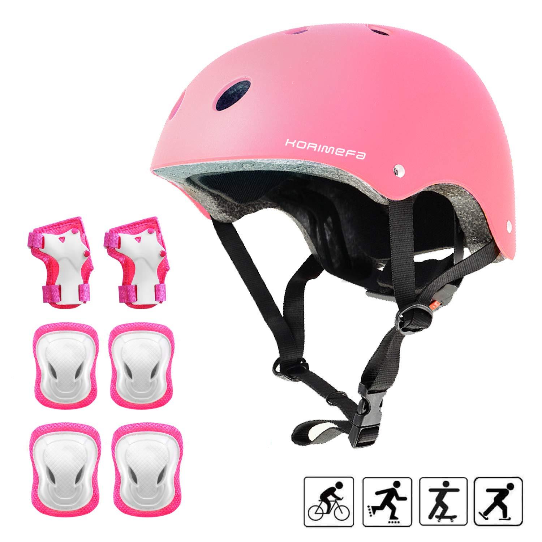 KORIMEFA Kids Helmet Knee Pads for Kids 3-8 Years Toddler Helmet, Kids Bike Skateboard Helmet Youth Cycling Scooter Rollerblading Protective Gear Adjustable Helmets for Kids (Pink)