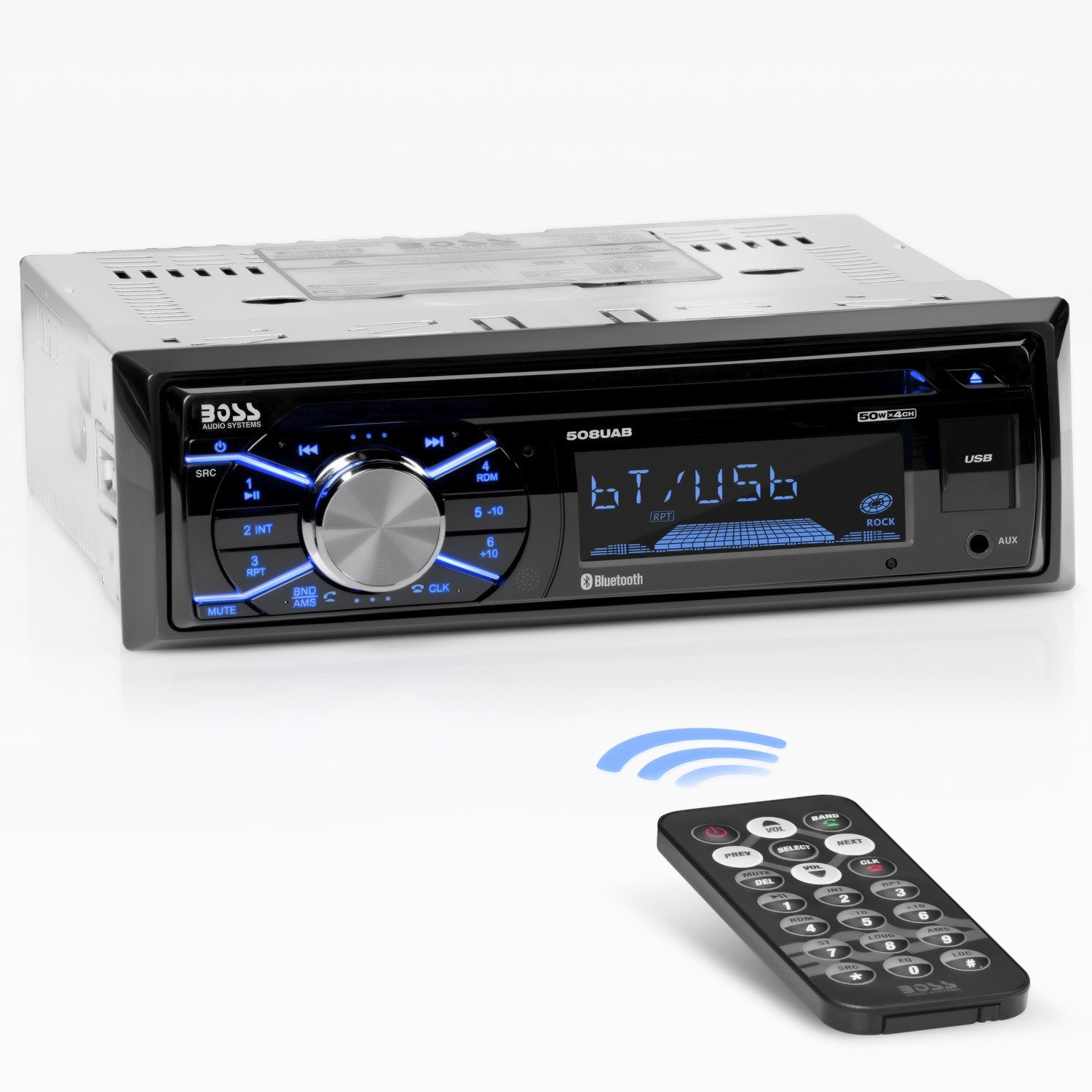 Boss Audio Systems 508UAB Multimedia Car Stereo - Single Din, Bluetooth Audio/Hands-Free Calling, Built-in Microphone, CD/MP3/USB/AUX Input, AM/FM Radio Receiver, Wireless Remote Control by BOSS Audio Systems