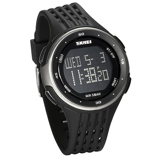 JewelryWe Reloj Digital Deportivo para Hombres, Tiempo Dual Multifunciones Plateado Reloj Grande, 5ATM Impermeable Relojes para Aire Libre, ...