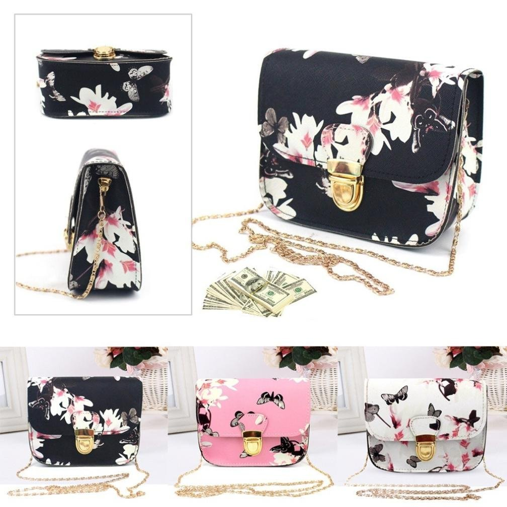 Outsta Butterfly Flower Printing Handbag,Women Shoulder Bag Tote Messenger Bag Phone Bag Coin Bag Travel Backpack Bucket Bag Classic Basic Casual Daypack Travel (Black) by Outsta (Image #5)