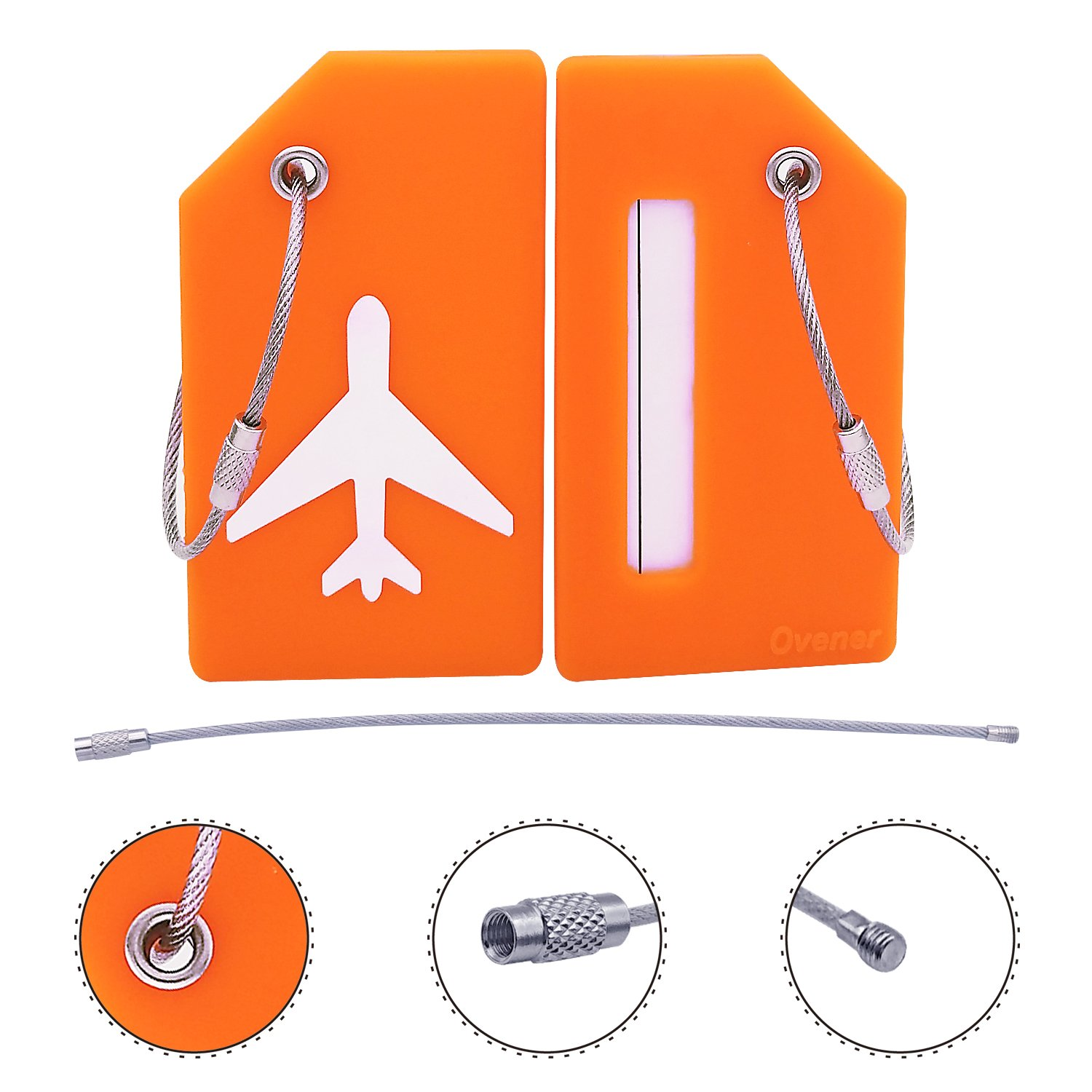 Silicone Luggage Tag With Name ID Card Perfect to Quickly Spot Luggage Suitcase (Plane 2Pcs Orange) by Ovener (Image #4)