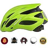 Shinmax自転車ヘルメット LEDヘルッドライト付き サイクリングヘルメット シンプルなヘルメットのバックパック ヘルメット こども用 超軽量 高剛性22通気穴 取り外し可能なパラソル サイズ調整可能 頭守るCPSC認証済み スケートボード キックボード インラインスケート BMX MTBなど子供/大人も適用 57-62 CM S/M/L/XL