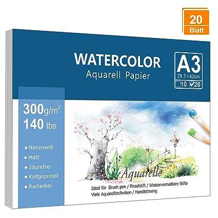 Premium Aquarellpapier A3 300 G M 20 Blatt Lelengder