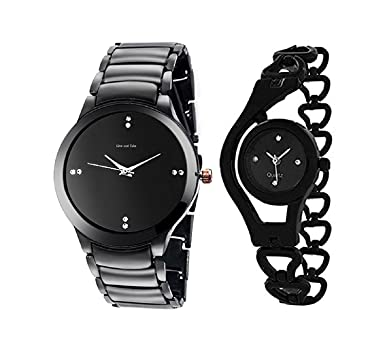3dde5e86e4b Buy TESLO Analogue Combo Watches for Men and Women Black Dial Girl and Boys  Couple Watch (Pack of 2) Online at Low Prices in India - Amazon.in