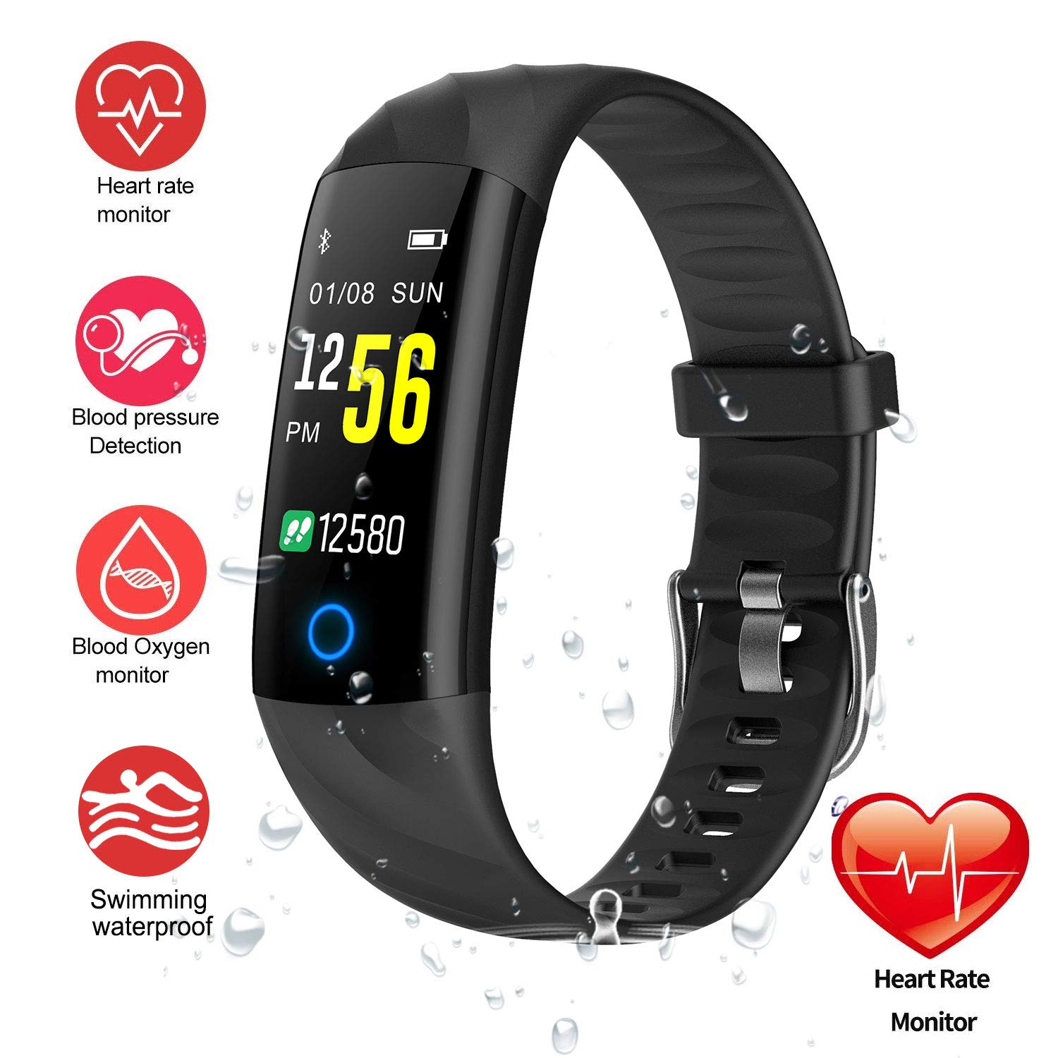 Fitness Tracker, Activity Tracker Watch with Heart Rate Monitor IP68 Waterproof Fitness Watch Step Counter Calories Counter Sleep Monitor Pedometer Watch for Men Women and kids for iOS Android