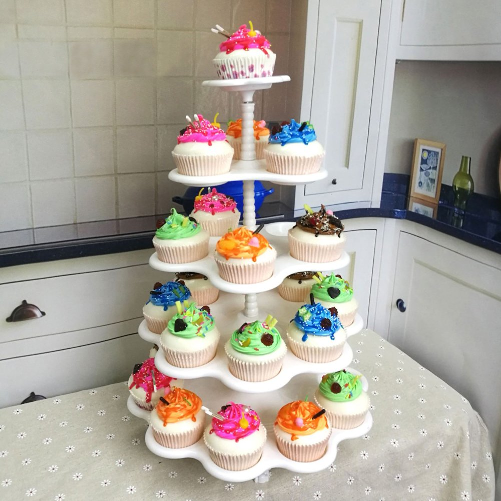 FEOOWV 5-Tier Stacked Cupcake and Dessert Tower Serving Display Stands | Wedding Birthday Party Cup Cake Tree