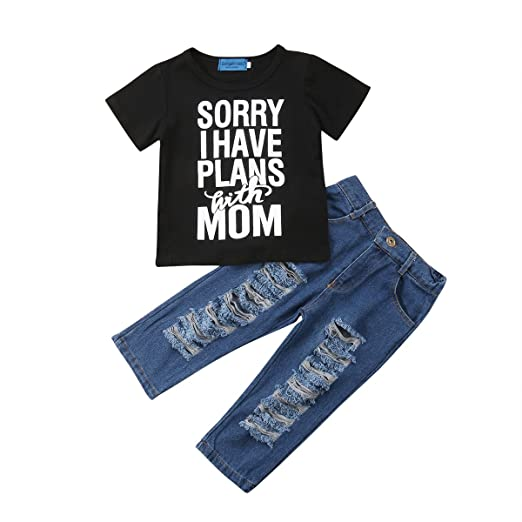 dd3a49e2 Douhoow Toddler Infant Baby Boy Clothes Letter Print T-Shirt Tops + Long  Denim Jeans