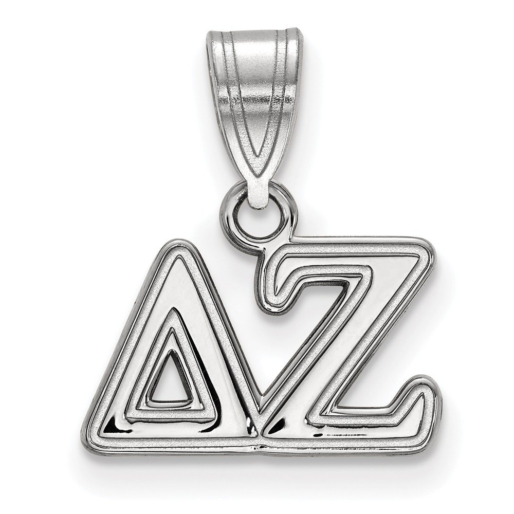 Sterling Silver Rh-plated LogoArt Delta Zeta Medium Pendant Sterling Silver