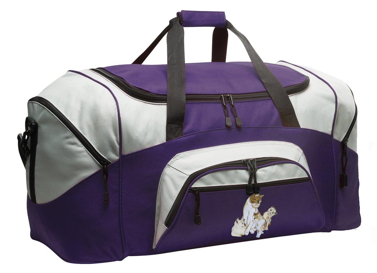 Cute Cat Duffle Bag Kitten Gym Bags Purple