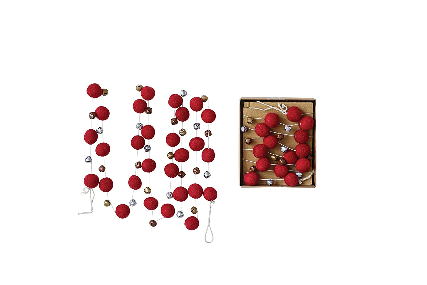 Red XM1864 Creative Co-Op 72 Inch Wool Felt Garland with Pom Poms