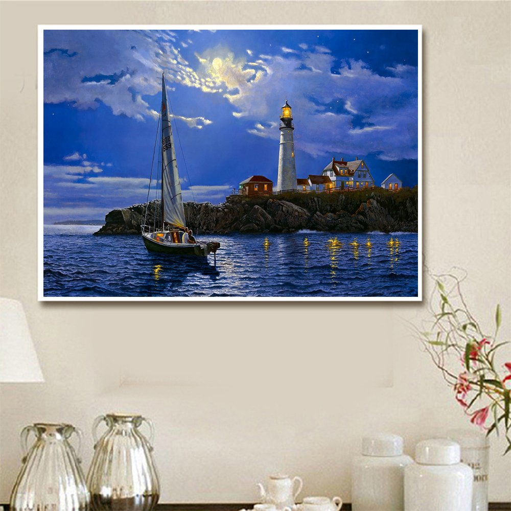 12X18inch//30X45CM Fipart DIY Diamond Painting Cross Stitch Craft Kit Wall Stickers for Living Room Decoration Beach Lighthouse