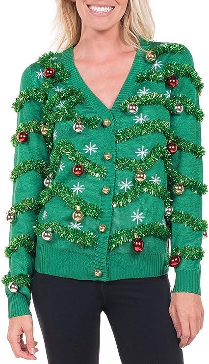 Women's Gaudy Garland Cardigan - Tacky Christmas Sweater with Ornaments tacky Christmas sweater