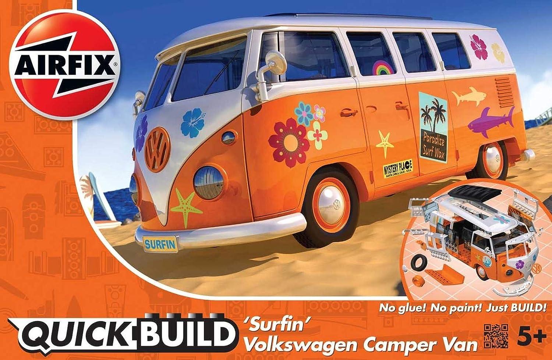 Airfix- VW Camper Surfin' Model Kit, Color Orange & White (Hornby Hobbies LTD J6032)
