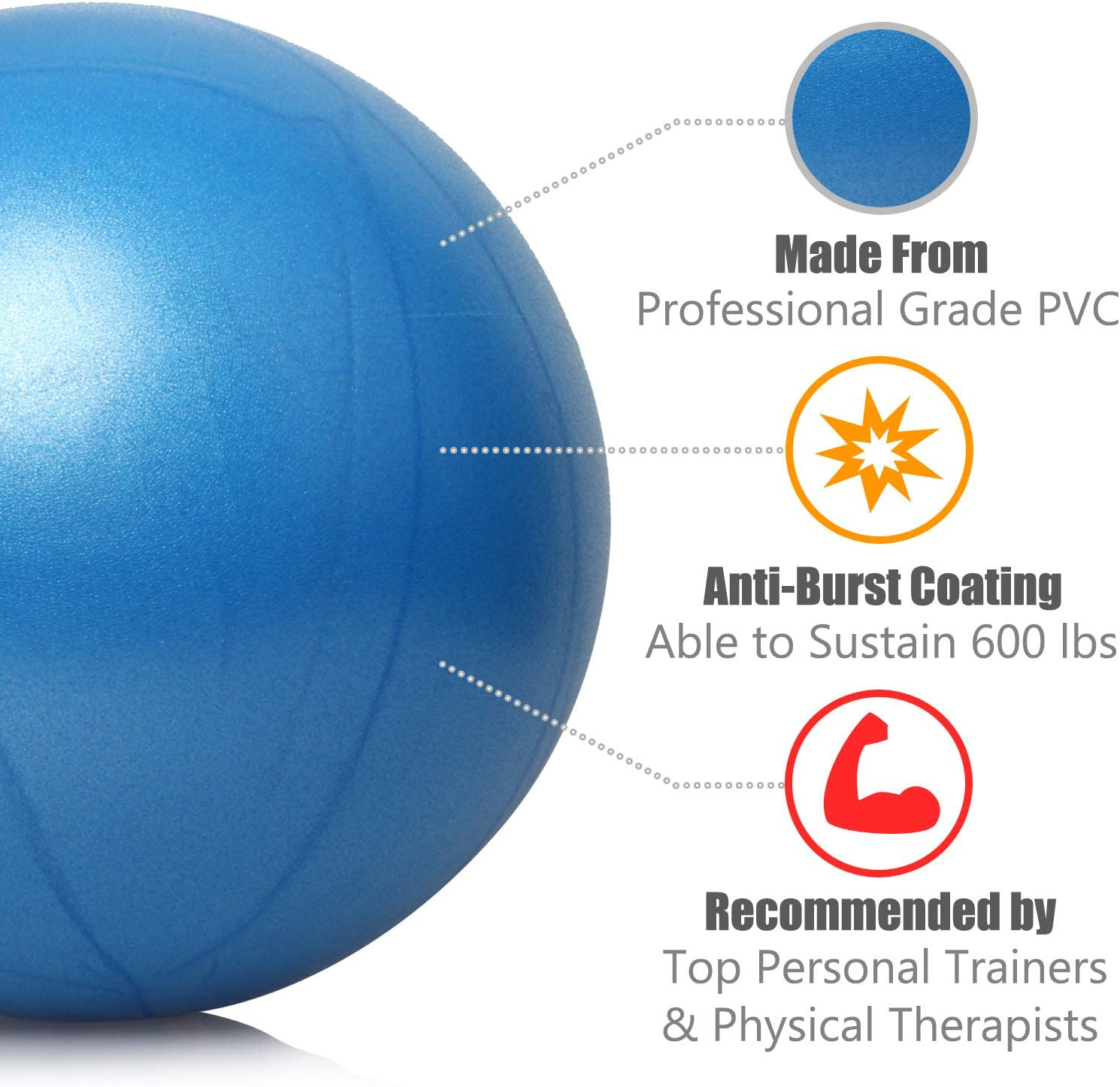nononfish Exercise Ball Professional Grade Anti-Burst Fitness Yoga Stability Gym Workout Training and Physical Therapy Balance Ball for Pilates Birthing