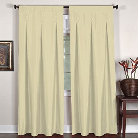 Elrene Home Fashions Imperial Shimmer Button Detail Panel Curtains Ivory 26  X 84
