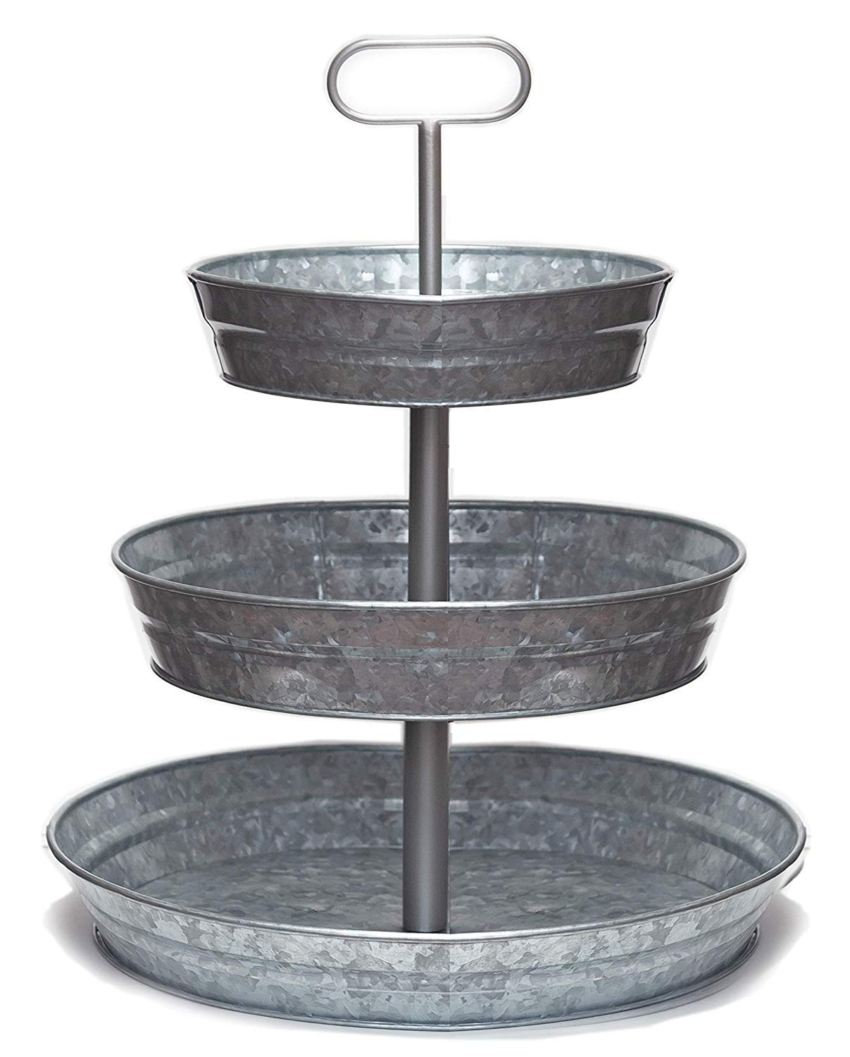 Rural HandiKraft - 3 Tier Serving Tray Galvanized (Large) - Handcrafted Premium Tray from India - Perfect for Party, Dessert, Fruit, Cupcake - Serving Tray with Sturdy Metal - Rust-Free Metal Stand