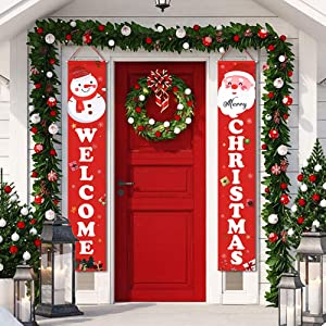 Christmas Banner Merry Christmas Decorations for Home - Christmas Porch Sign Christmas Decorations Indoor Outdoor - Xmas Banners Christmas Signs Decor for Front Door Living Room Kitchen Wall Party