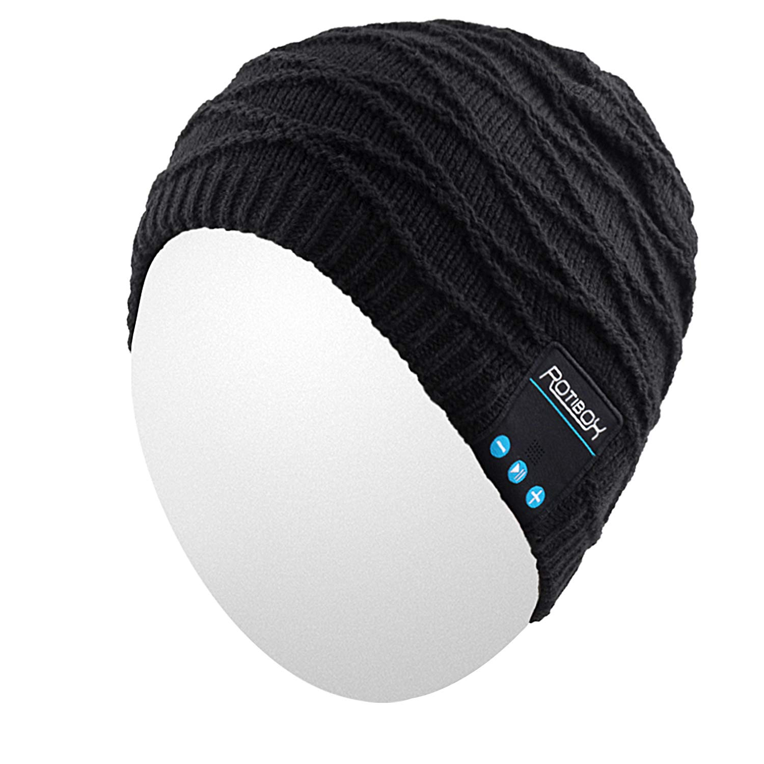 Qshell Wireless Bluetooth Beanie Hat Headphone Headset Music Audio Cap for Women Men with Speaker & Mic Hands Free Outdoor Sports,Compatible with iPhone 6s/6 Plus,Samsung, Black by Qshell