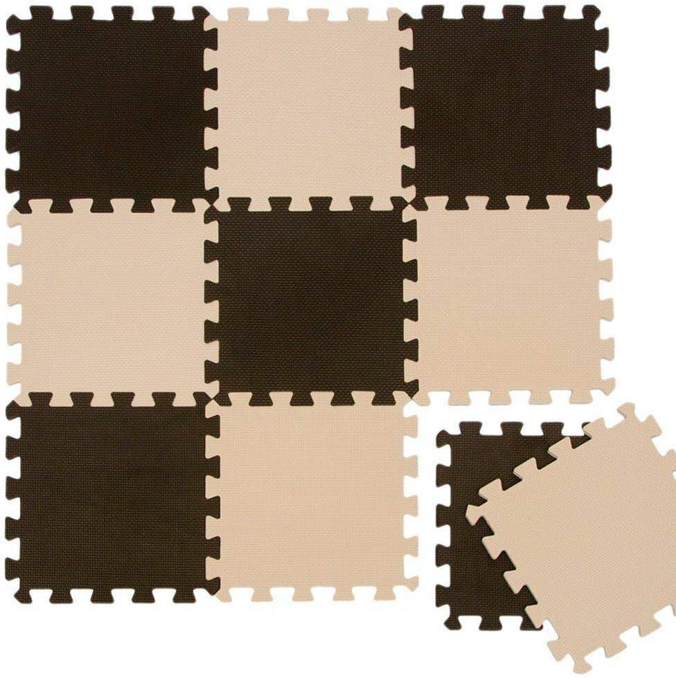 TradeXone Interlocking Eva Foam Tiles Exercise Soft Play Mats Life for Kids Pure Colour EVA Foam Mats Flooring Jiasaw Puzzle Mats 30x30 30pcs, Beige /& Coffee