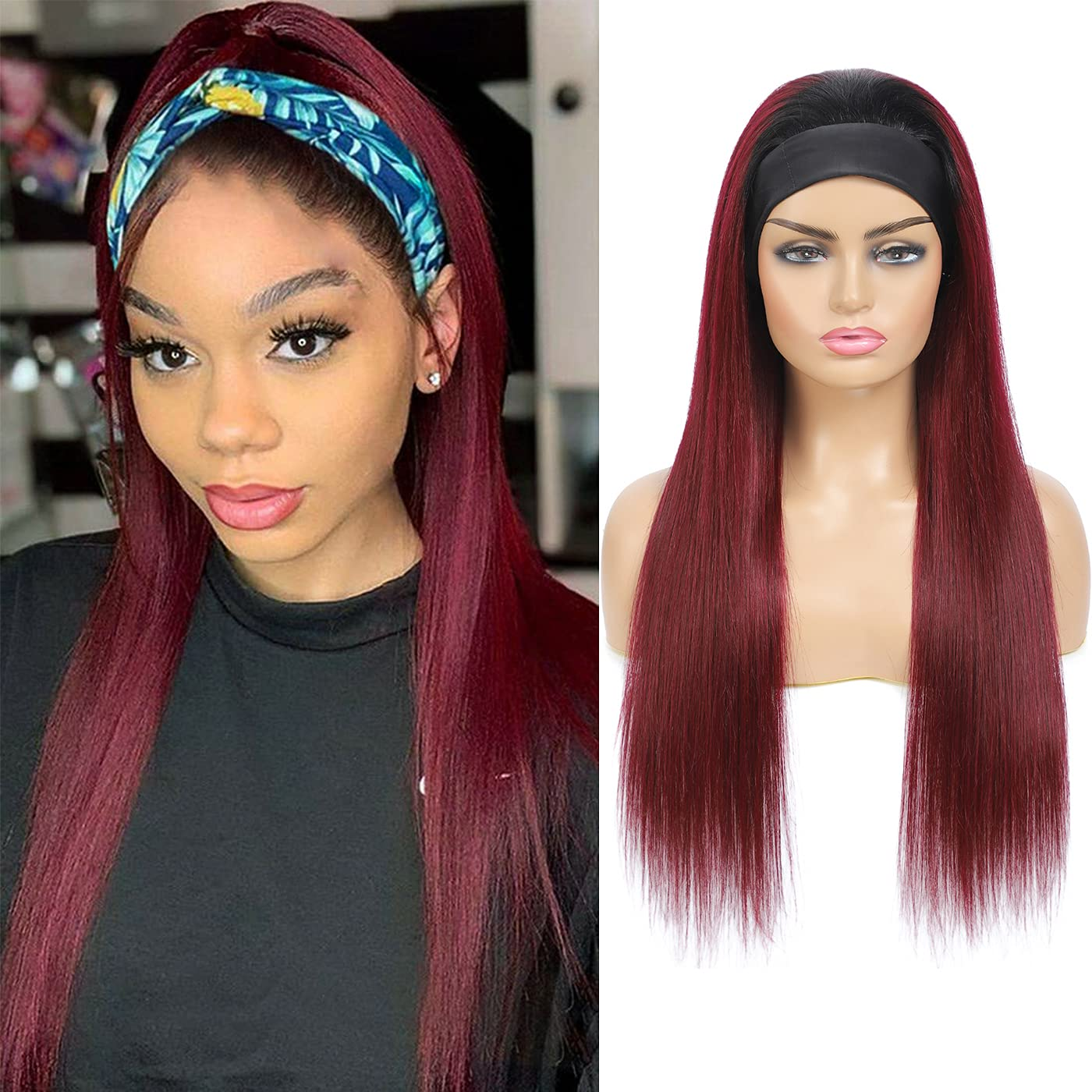 Headband Human Hair Wig for Straight Ranking TOP9 None Lace Translated Women