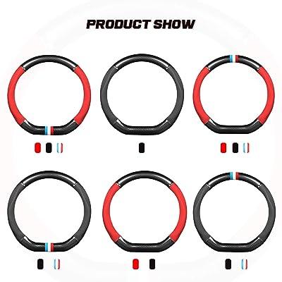 15 Ergocar Car Steering Wheel Cover Non-Slip Car Steering Wheel Protector Sport D-Shape Carbon Fiber /& First Layer Cowhide Universal for Diameter 38cm