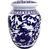 Decorative Blue and White Lotus Pattern Porcelain Storage Container or Display Unit.Large